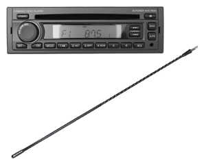 Fleetrite AM/FM CD Player with Front Auxiliary Input / CB Antenna FLTAMFMRCD / FLTANTB2FR