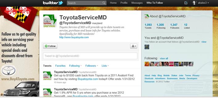 Social Media Example Twitter