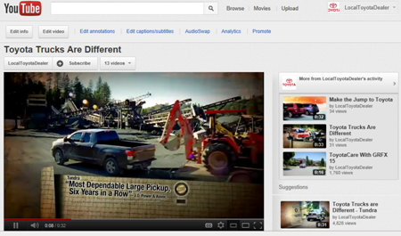 Social Media Example showing Toyota's Trucks are Different Program on Youtube