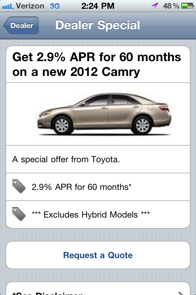Smartphone application - details page for a Toyota New Vehicle Special