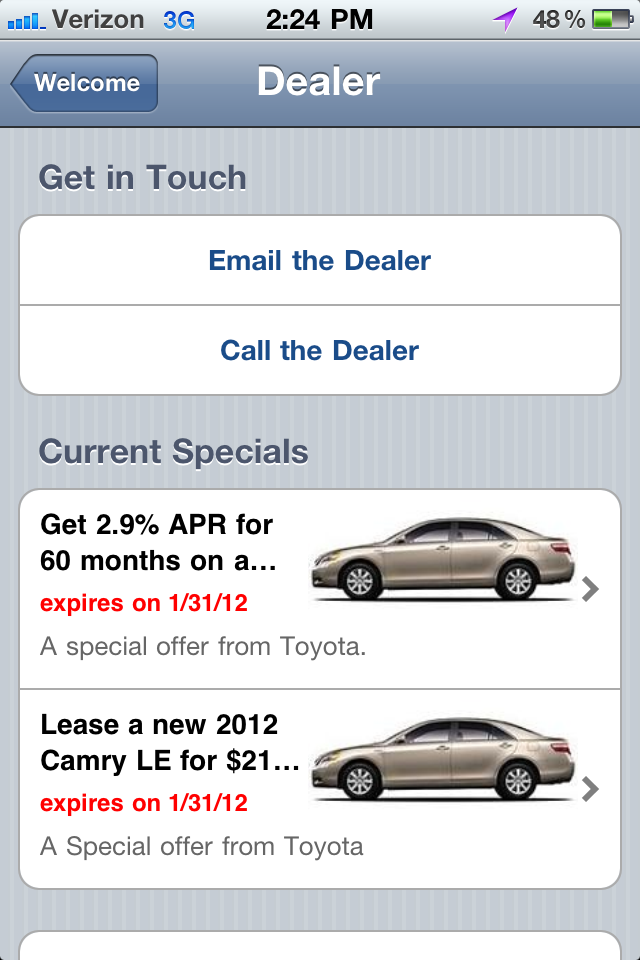 Smartphone application showing Toyota New Vehicle Specials